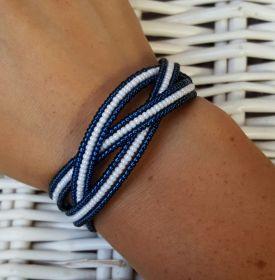 Náramek paměťový drát - modro-bílá