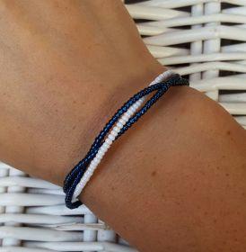 Náramek paměťový drát , jemný - modro-bílá